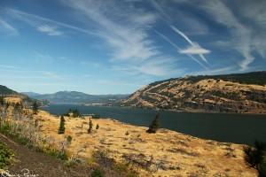 Oregon till vänster (söder) och Washington till höger (norr) om Columbiafloden.