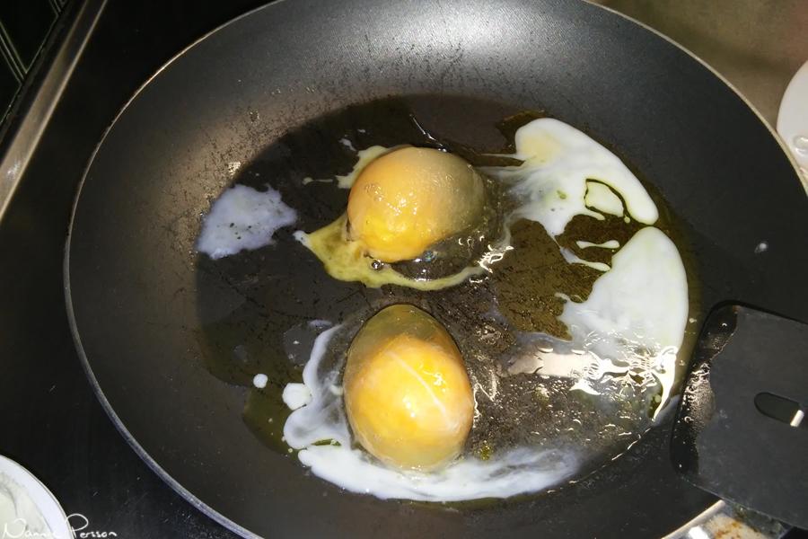 Halvbra kyl i stugan. Äggen som låg längst bak frös. Det blev i alla fall äggröra till frukost tillslut.
